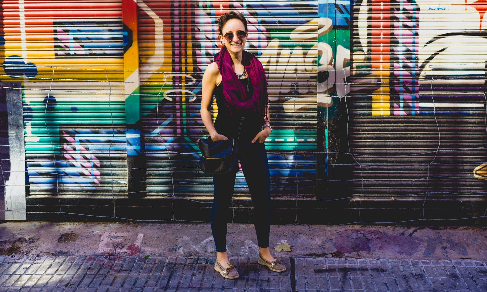 Becca in front of street art in Buenos Aires
