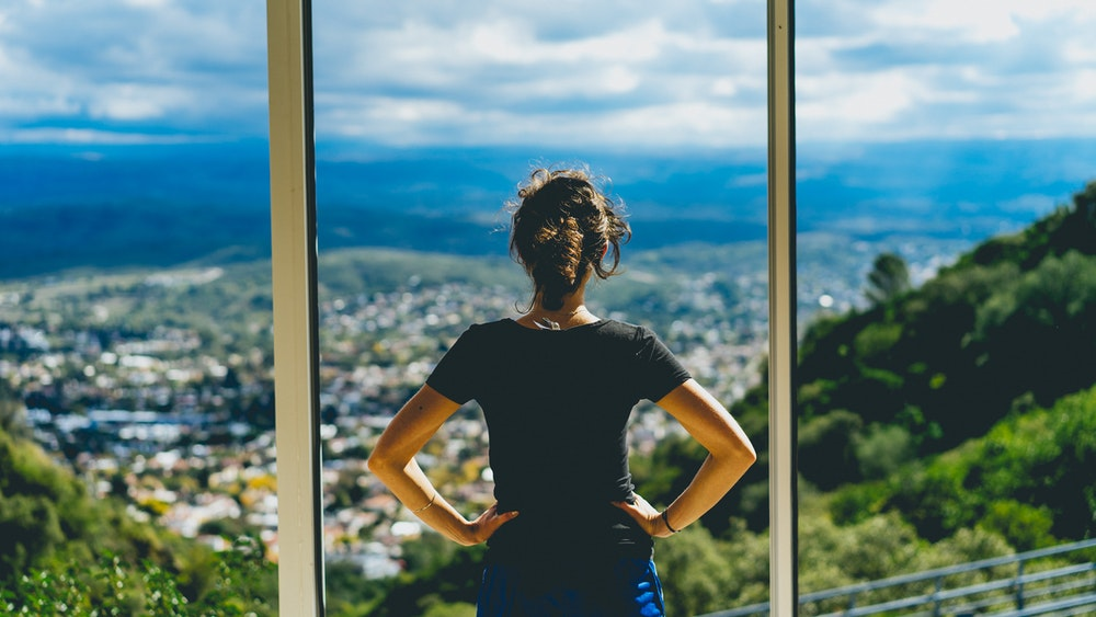 Becca looking at the view at the highest point in Villa Carlos Paz