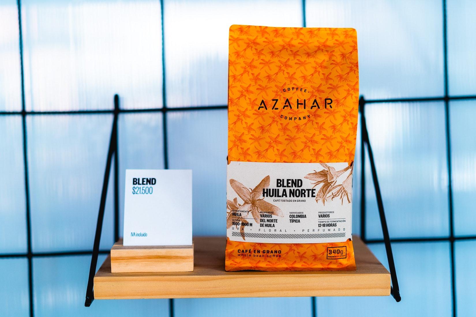 Azahar packaged coffee on a shelf