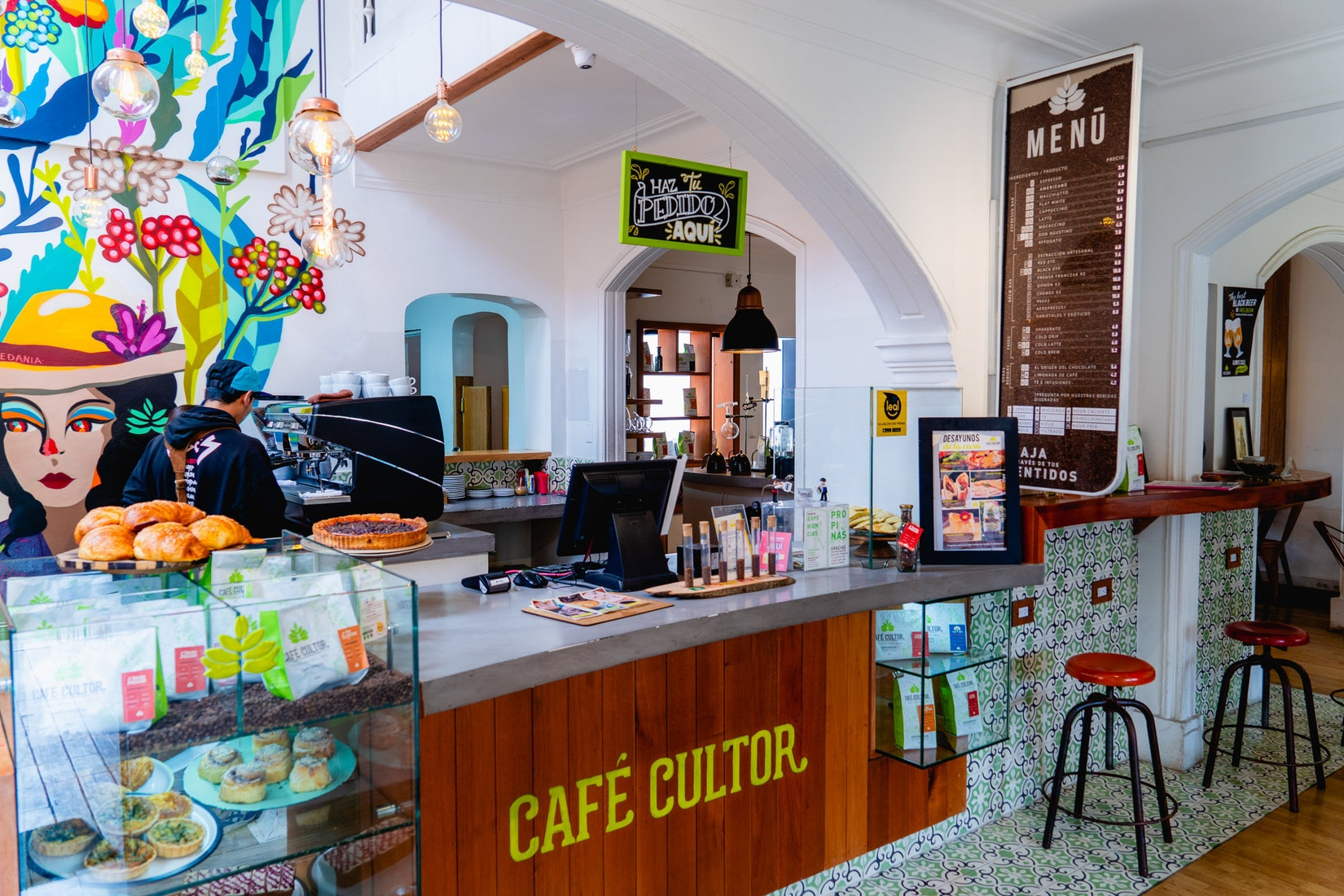 The front counter of coffee house cultor in Bogota