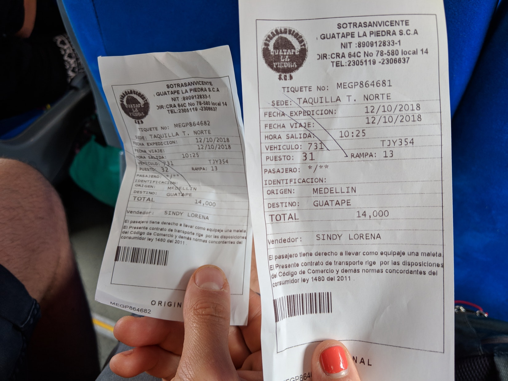 Bus ticket for how to get to Guatape from Medellin