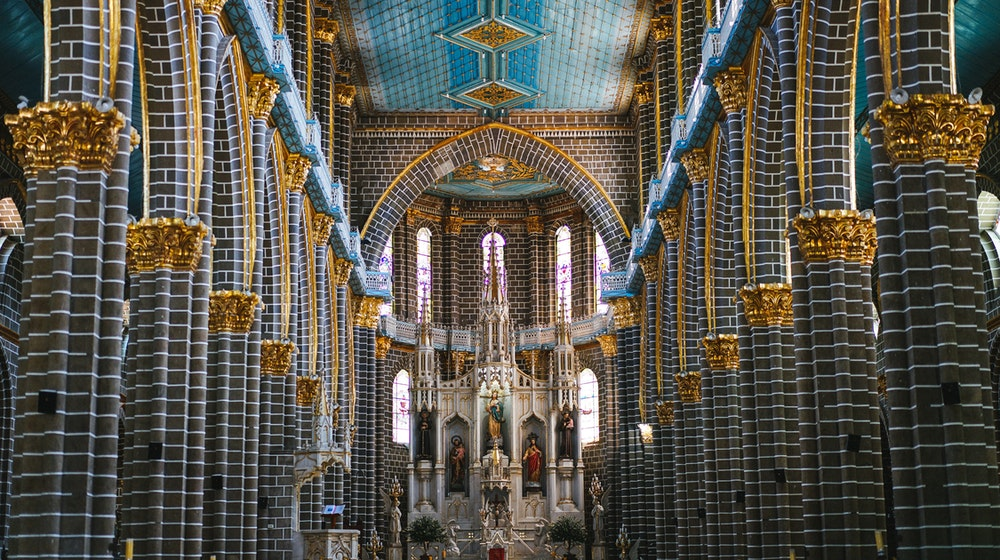 Inside the Basilica Menor in Jardin, Colombia