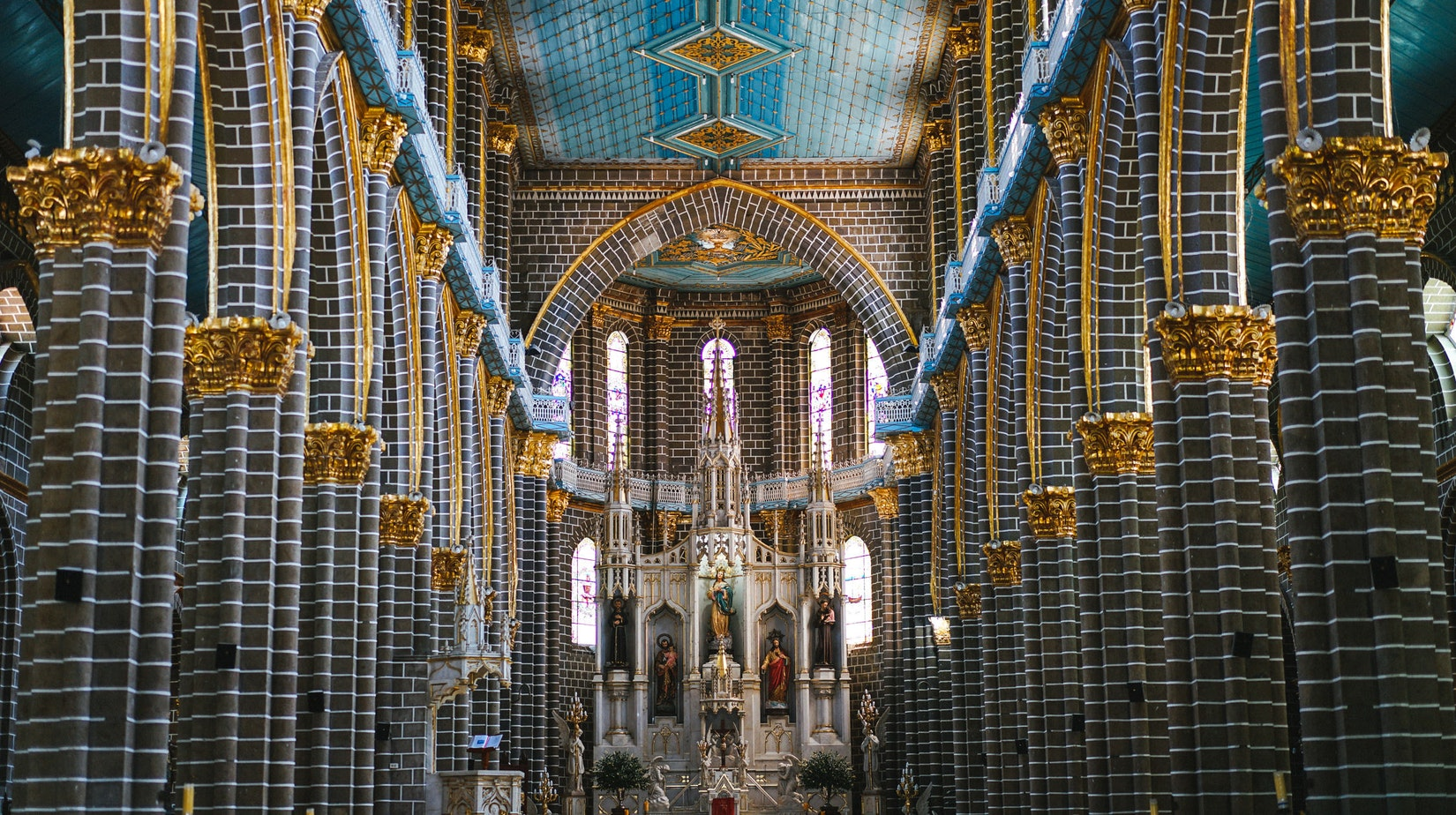 Inside the Basilica Menor in Jardin, Colombia