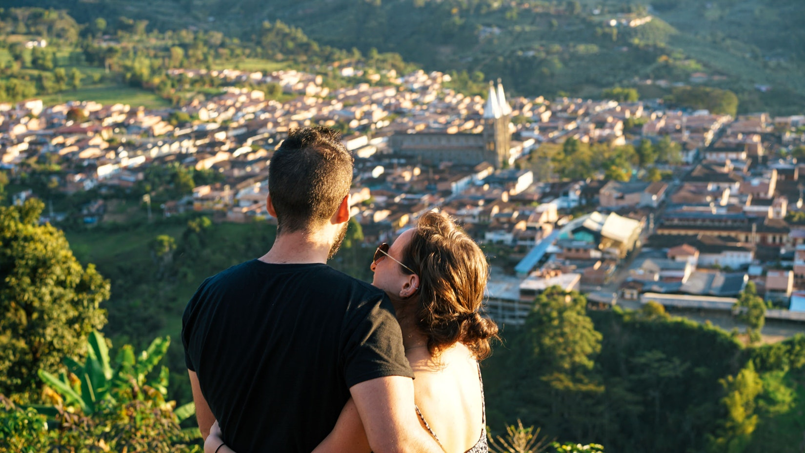 Becca and Dan at golden hour in Jardin, Colombia