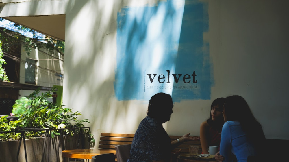 Outside Cafe Velvet in Medellin Colombia