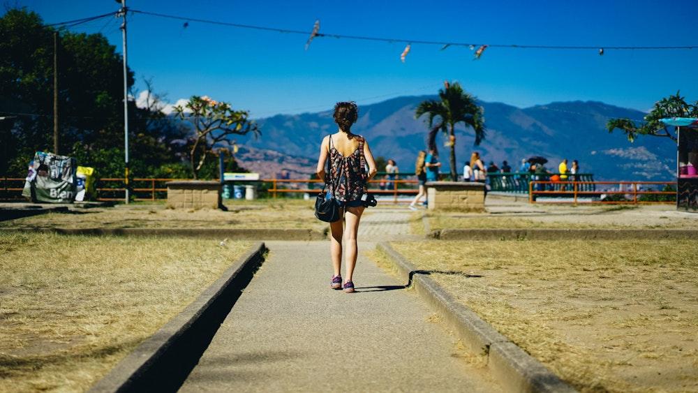 Becca walking near Pueblito Paisa in Medellin Colombia