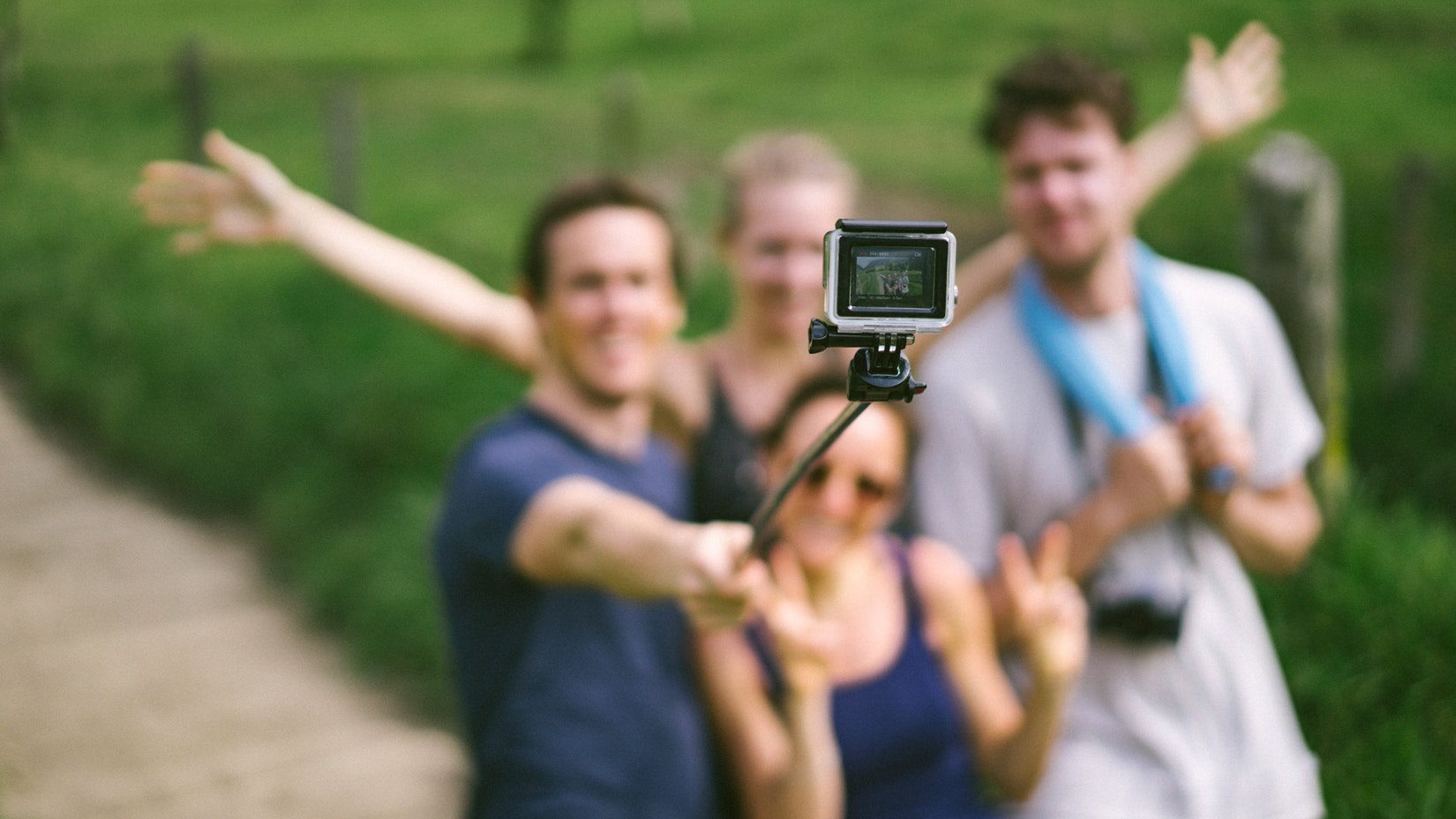 Group of people with a GoPro in Salento, Colombia