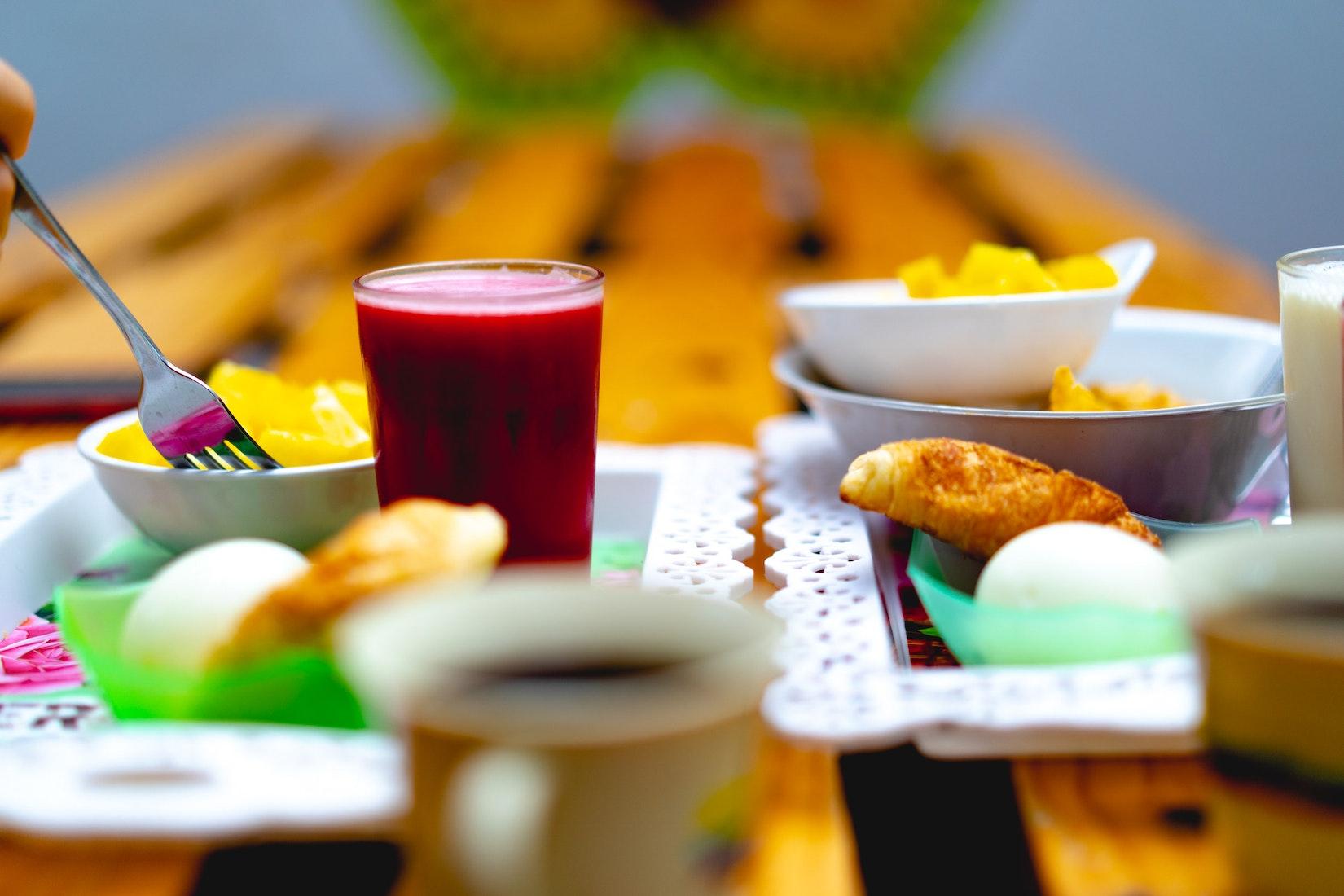 Fresh blackberry juice at morning breakfast outside