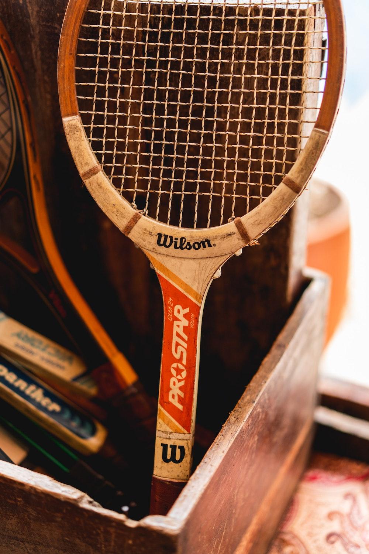 A vintage antique wooden tennis raquet at Hotel Mariscal Robledo