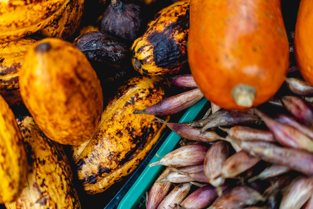 Cacao and long squash for sale in a market in Santa Fe de Antioquia