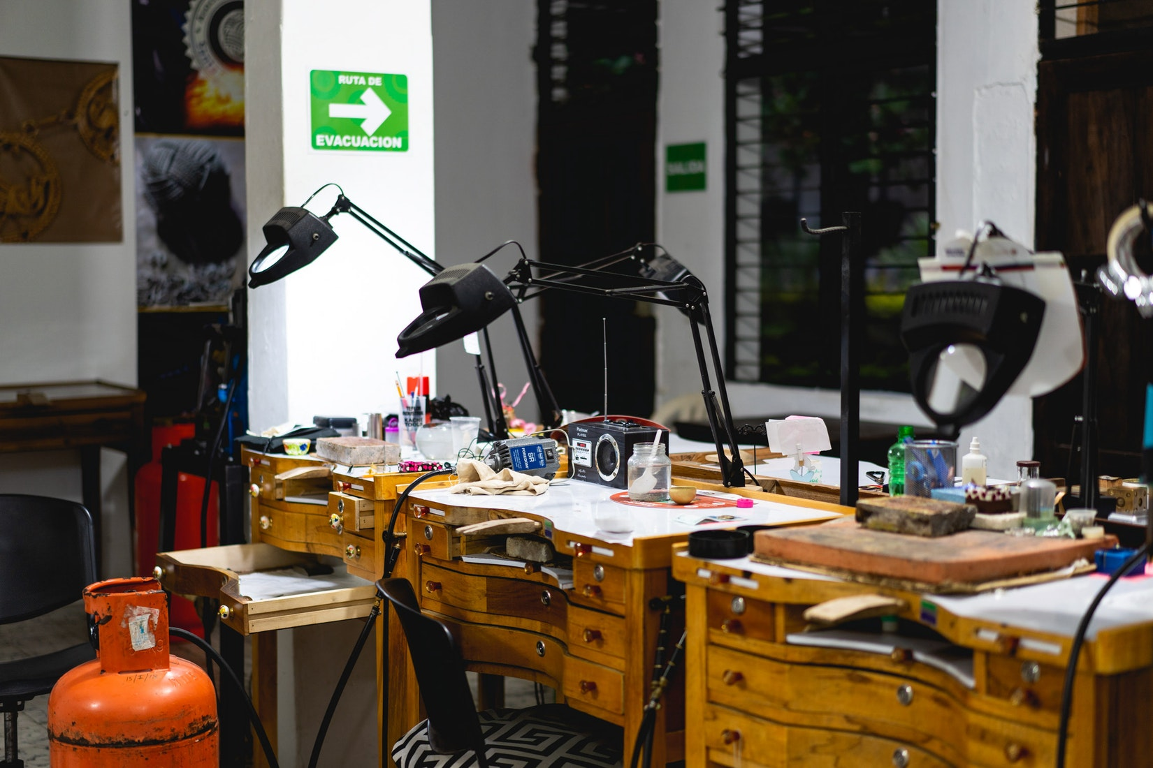 Interior of work stations at a filigree shop in Colombia