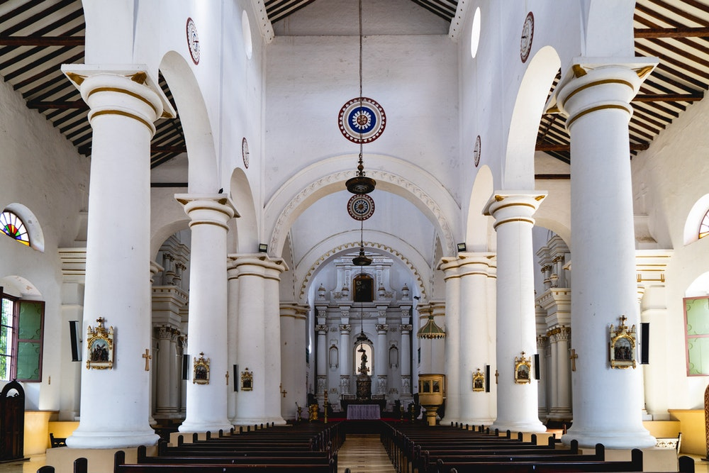 Whitewashed traditional interior of Catholic cathedral in Santa Fe de Antioquia