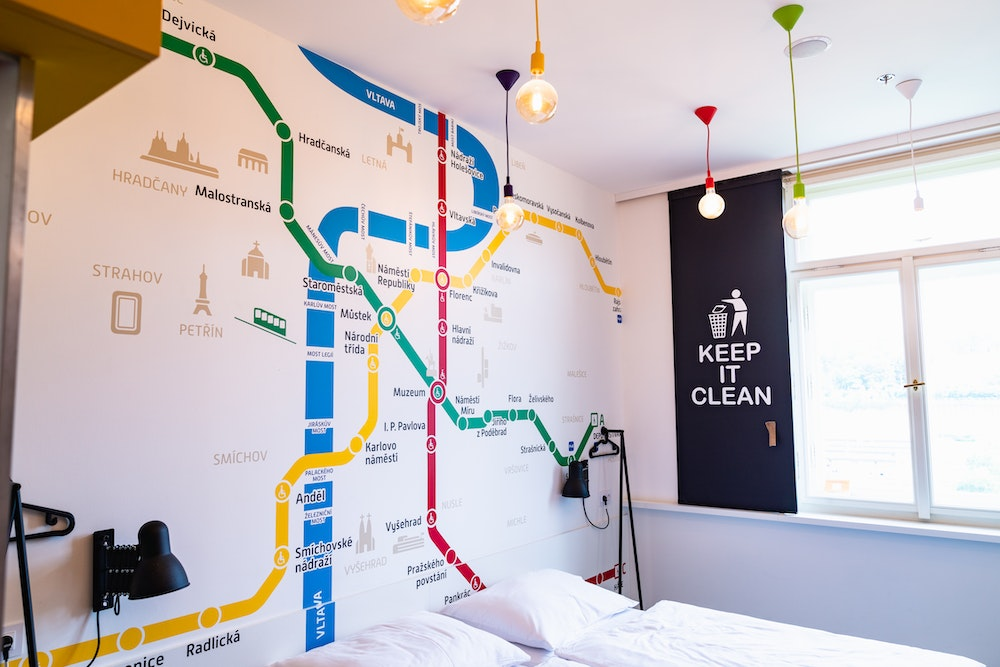 Prague metro map on the wall of a Meetme23 hotel room