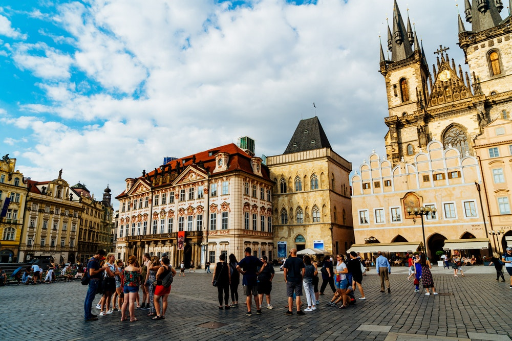 Classic buildings in Prague Old Town Square