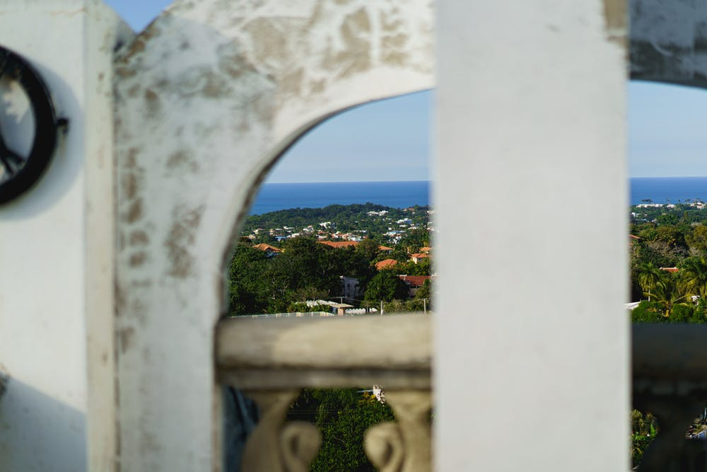 View of Sosua and the Caribbean Sea from the rooftop of Castillo Mundo King on a clear day