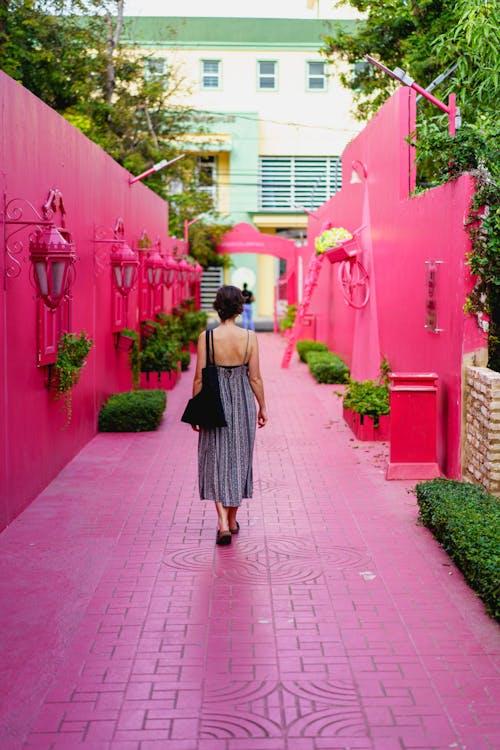 Fotoğraf noktası için yürüyen kız Pink Street Puerto Plata şehir Dominik Cumhuriyeti