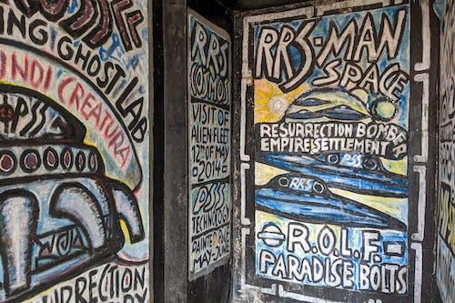Sosua Dominik Cumhuriyeti'ndeki yabancı evin içindeki uzaylı duvar sanatı Castillo Mundo King Sanat Müzesi