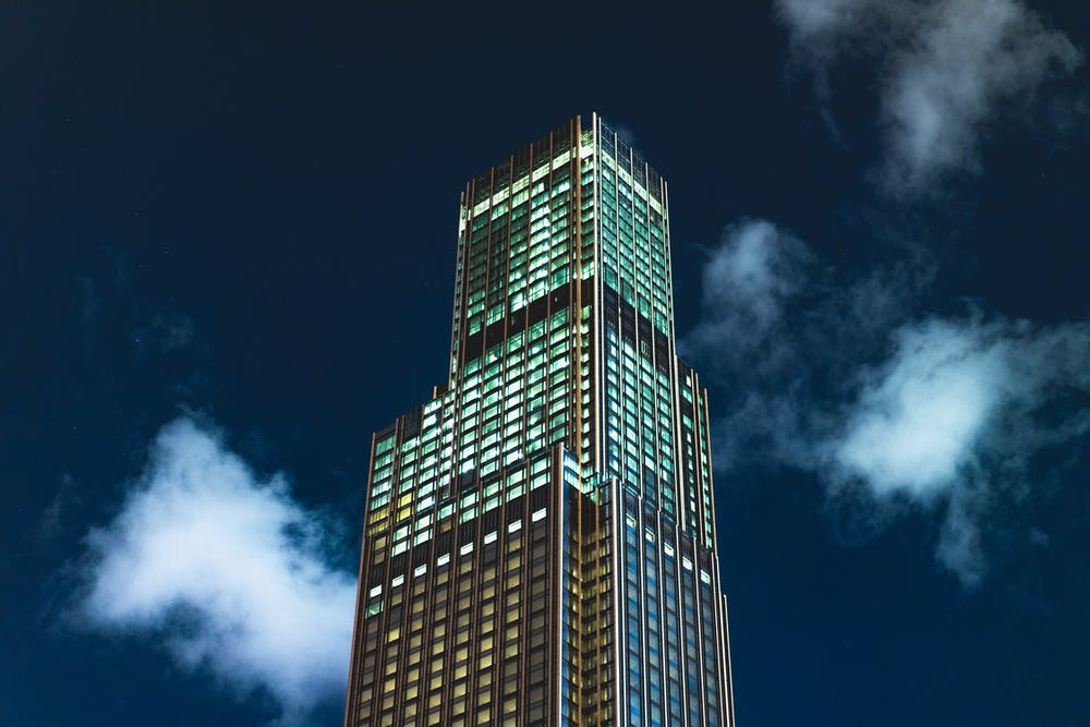 Tall building at night in Hong Kong