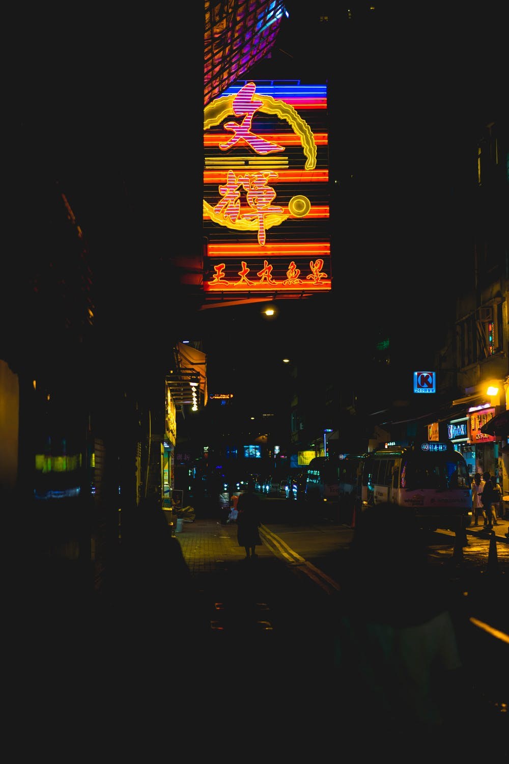 Vertical image of Hong Kong with neon signs