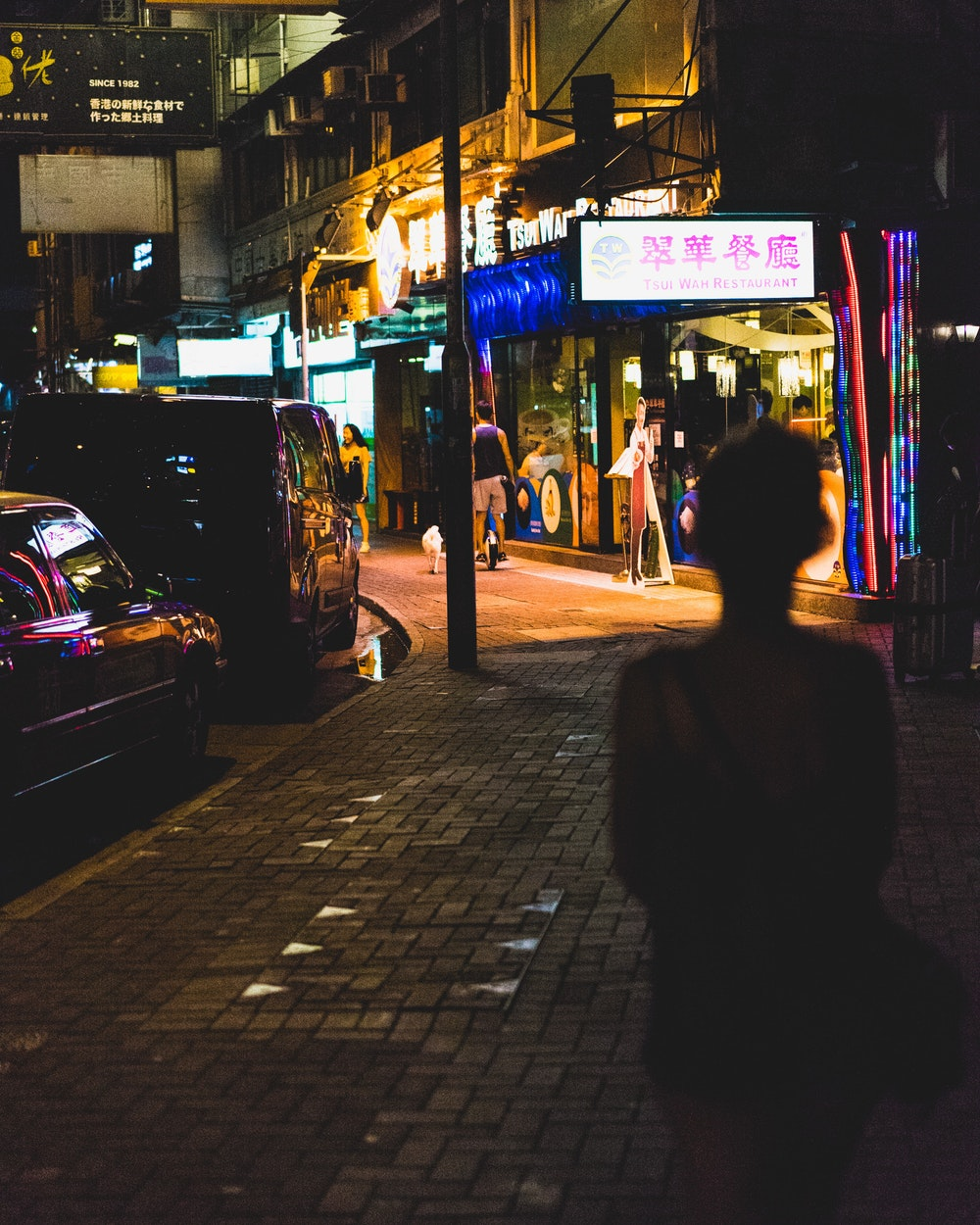 Girl silhouetted by neon signs at night