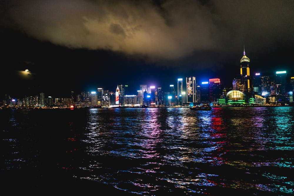 View of the colorful Hong Kong skyline at night