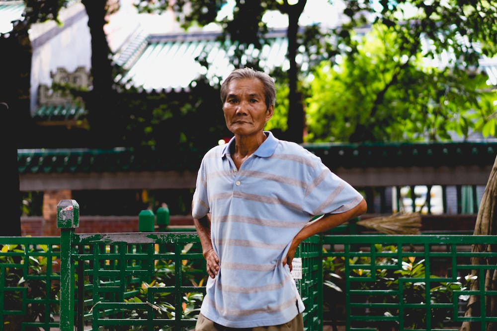 Street portrait of a man in Hong Kong