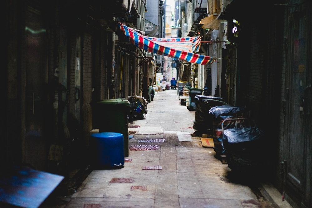 Empty alley in a Hong Kong street