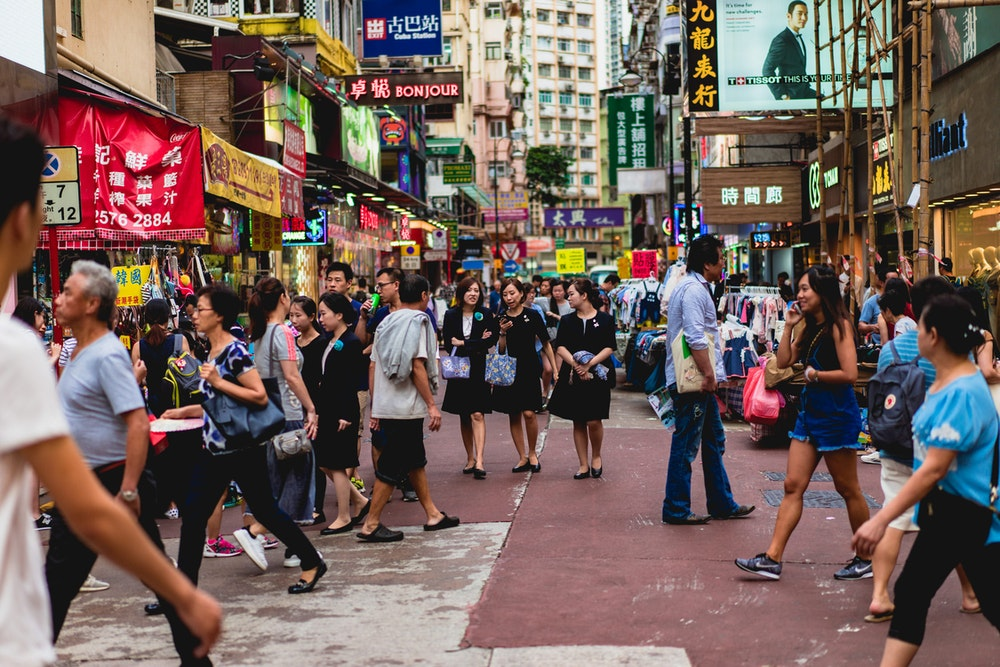 Busy crowd of people in a central location in Hong Kong