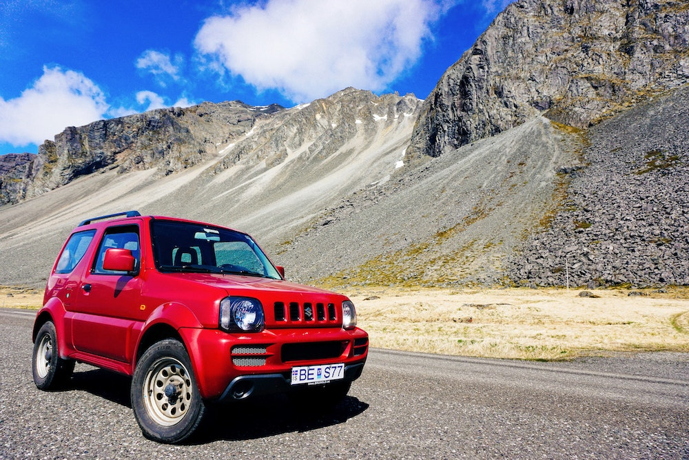 Red 4x4 car from Rent a Wreck in Iceland