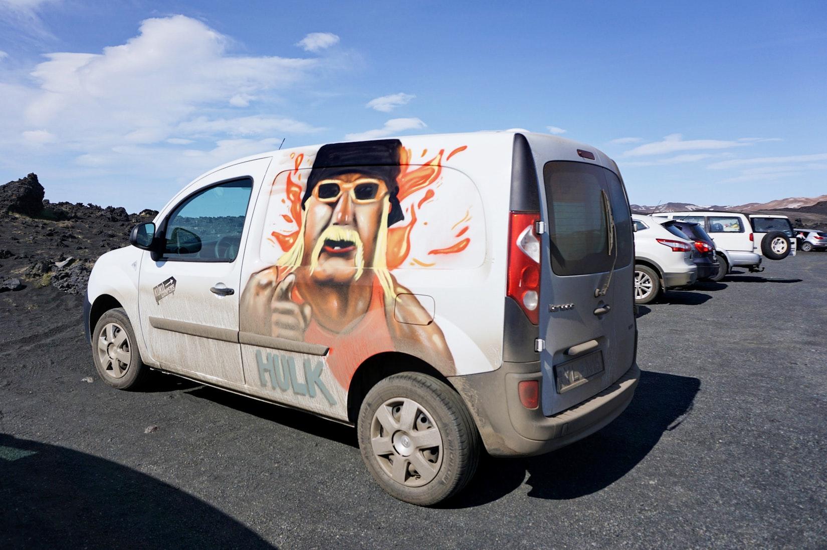 A Hulk Hogan camper van in Iceland