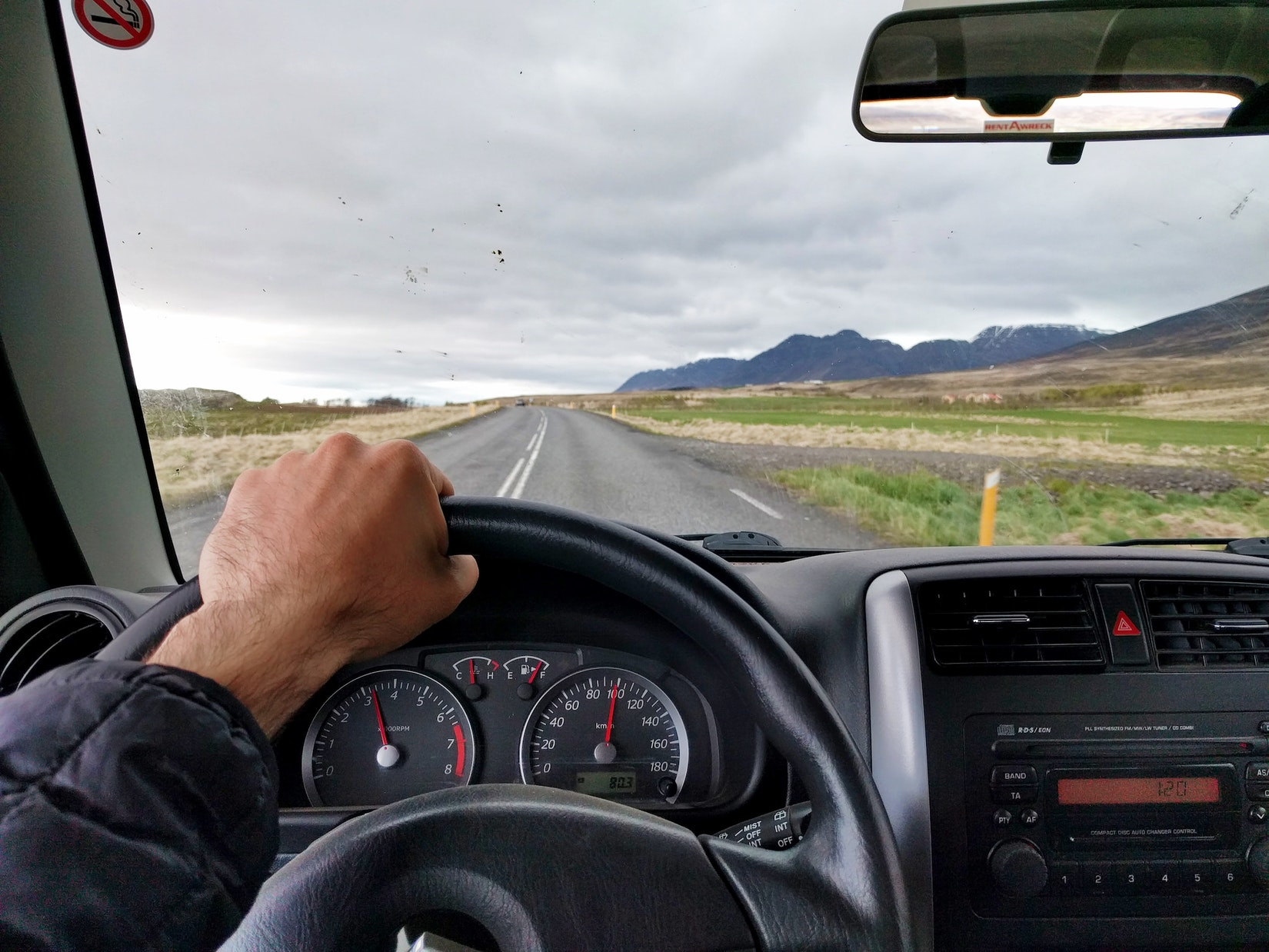 Taking a picture while driving in Iceland