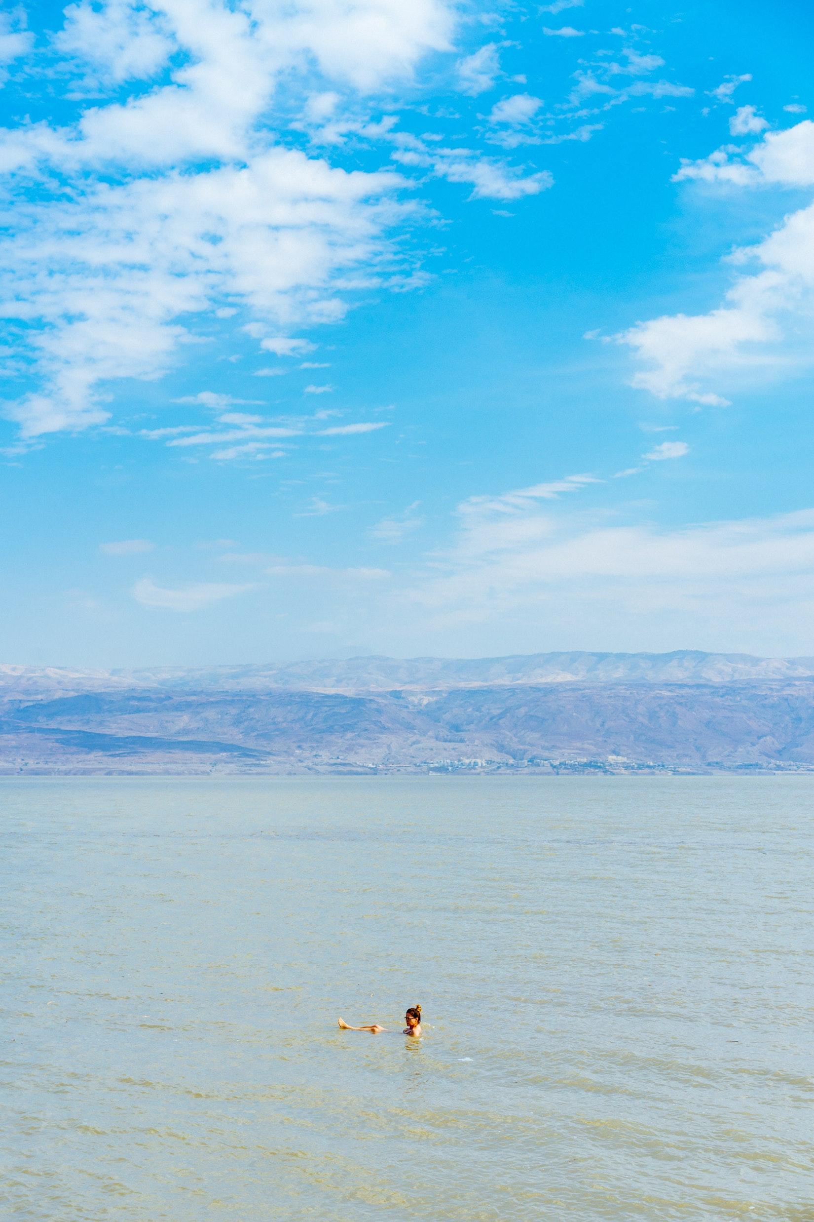 Someone swimming in the Dead Sea