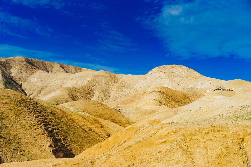 Scene of sand dunes in the israeli negev desert israel