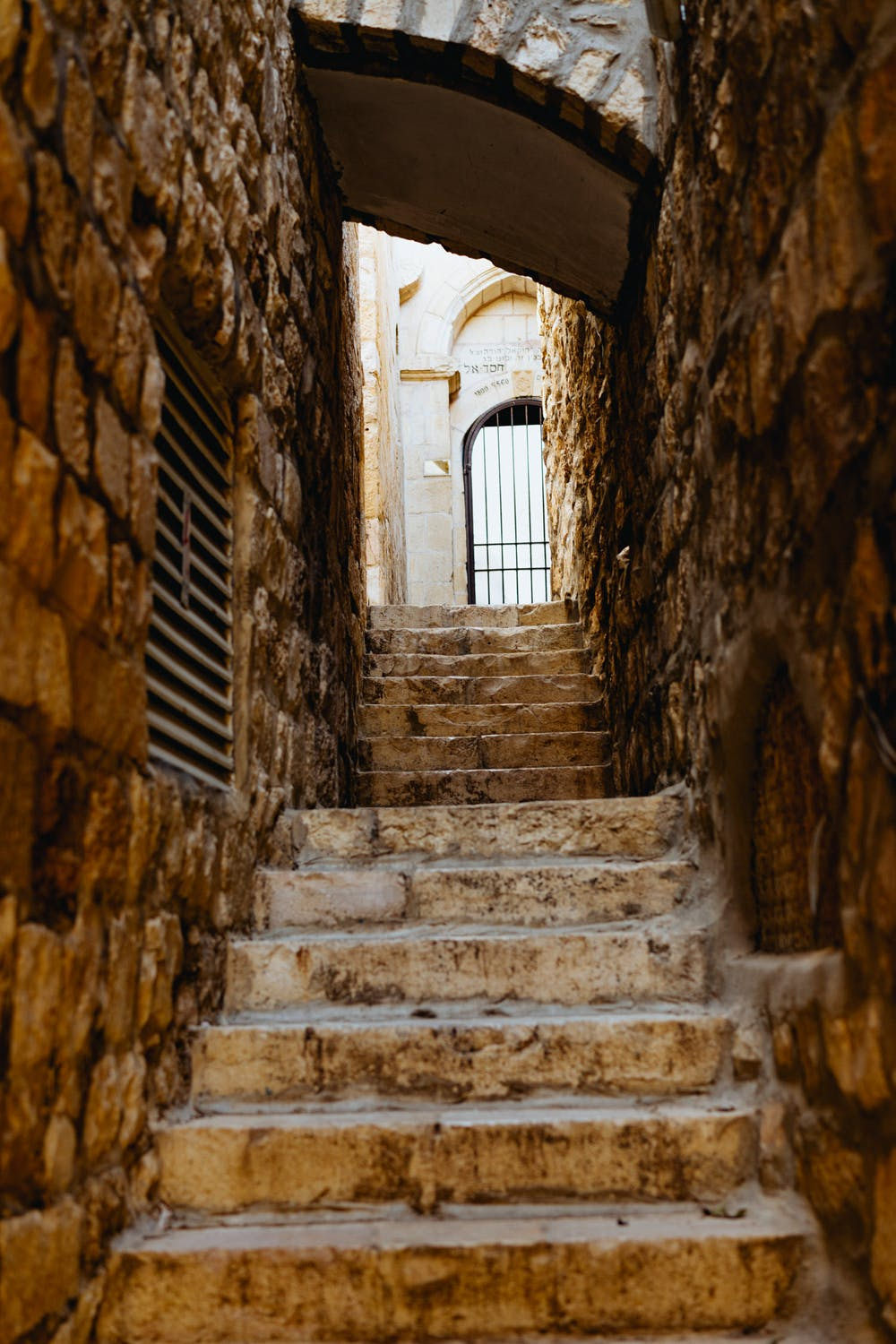 Stone ancient alleyway in jerusalem old city israel