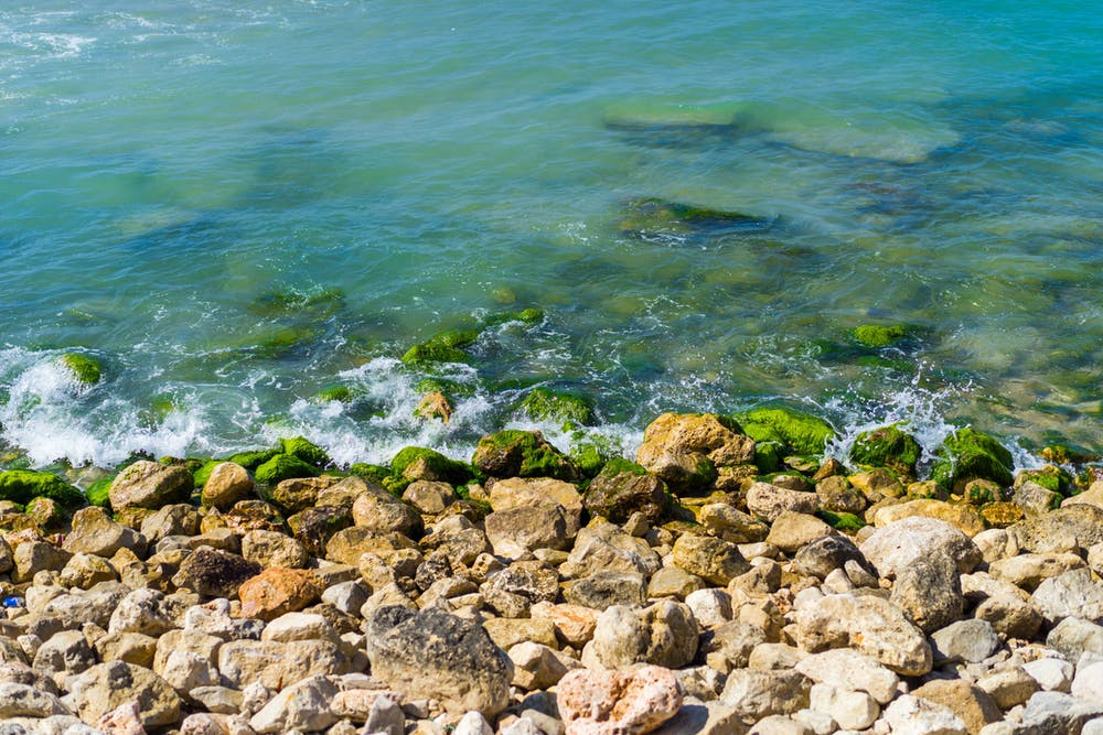 Blue and green ocean waters tel aviv gordon beach israel