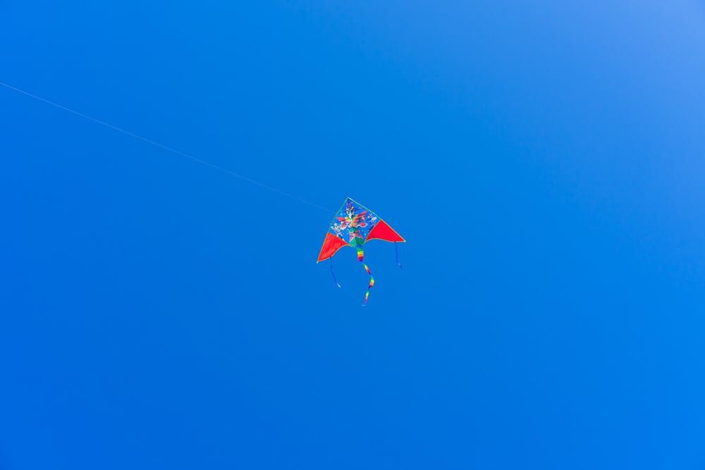 Kite flying over blue sky near tel aviv beaches israel