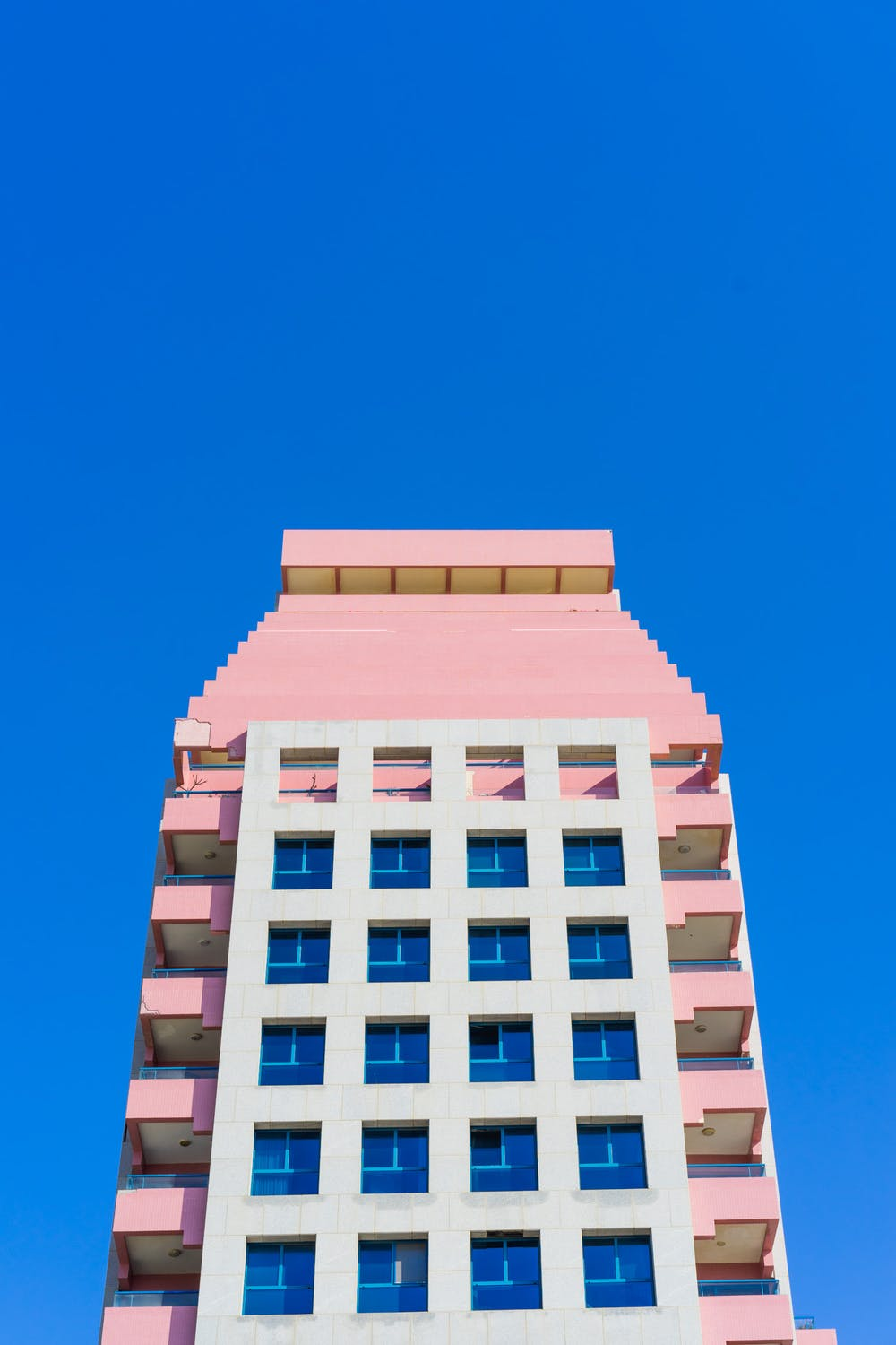 Pink hotel retro building tel aviv beaches in israel