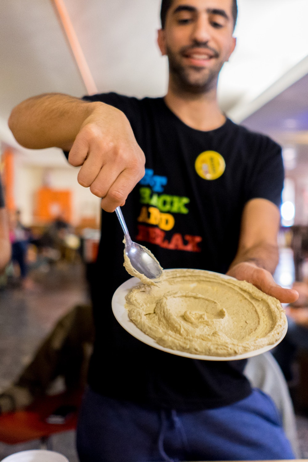 Hummus on a place at Abraham Hostel in Jerusalem