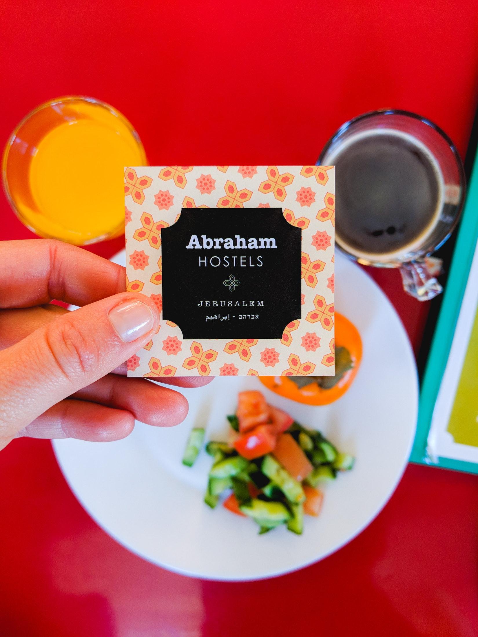Breakfast at Abraham Hostel in Jerusalem
