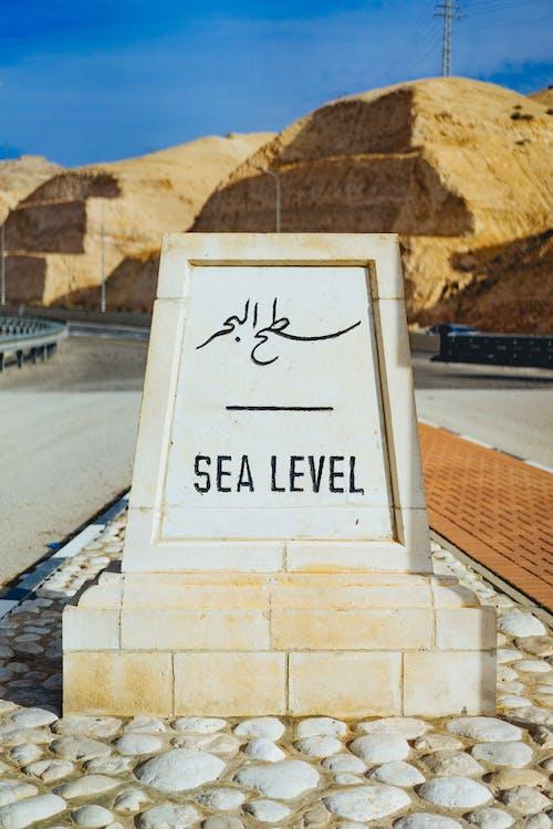 SEA LEVEL plaketi ve sarı kumlu Kudüs'ün dışındaki otoyolda tabela