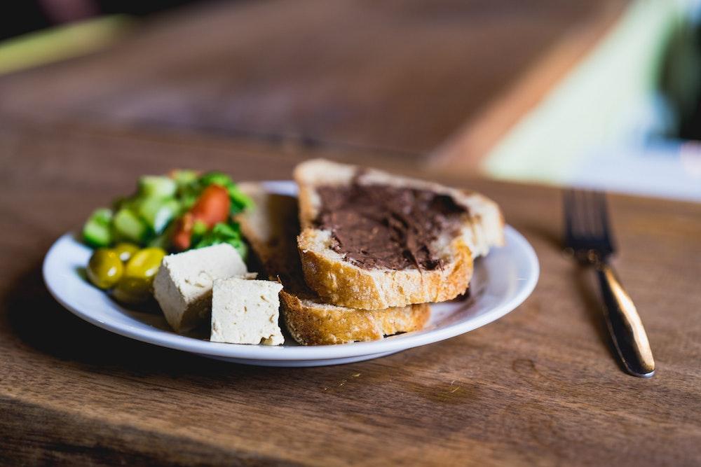 Breakfast food at Abraham Hostel in Tel Aviv