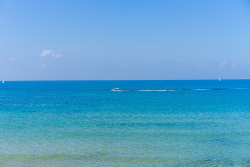 Teal and blue water in the Mediterranean beach in Tel Aviv, Israel