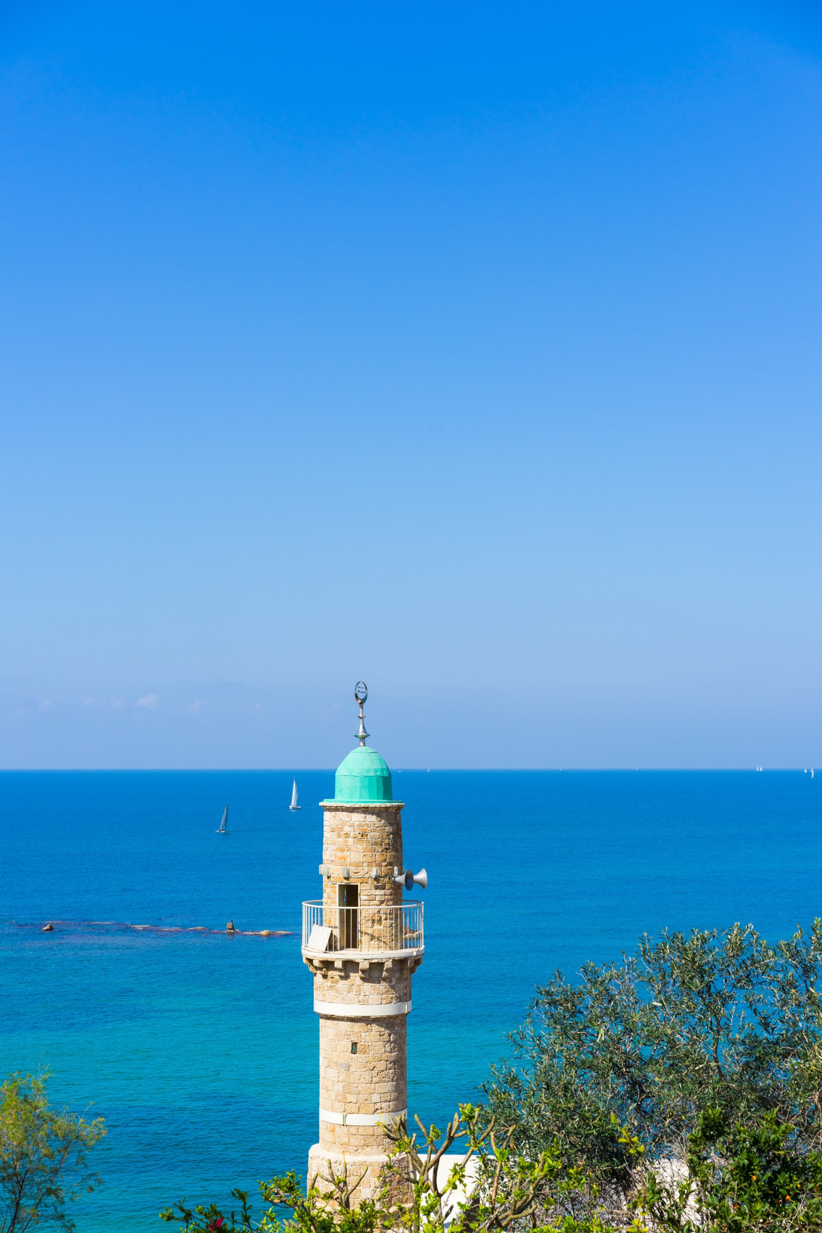 The tower of a mosque in Jaffa, Israel