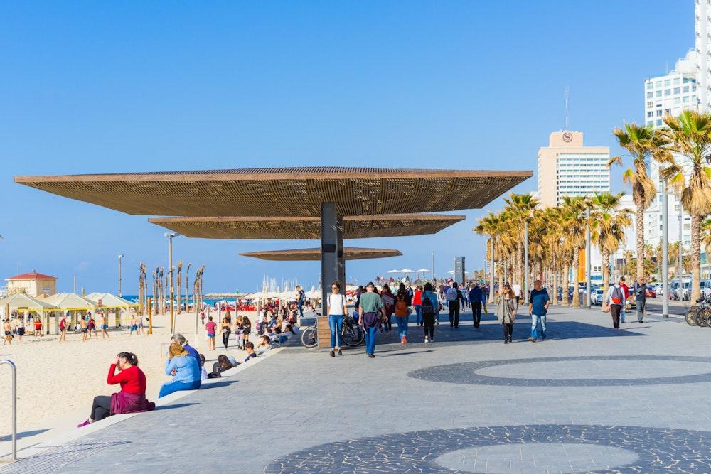 Mediterranean beachfront promenade in Tel Aviv, Israel