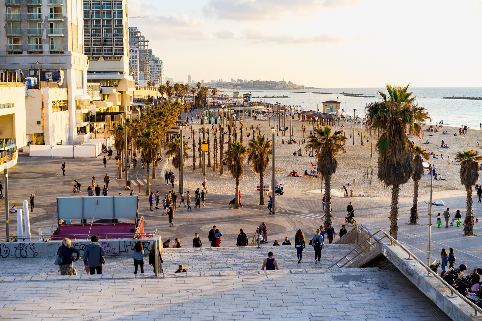 View of the Mediterranean beachfront in Tel Aviv, Israel