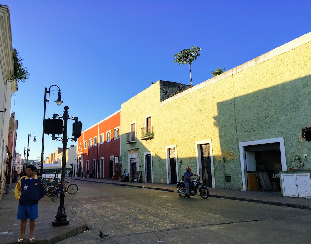 Early morning on the downtown streets of Valladolid, Mexico