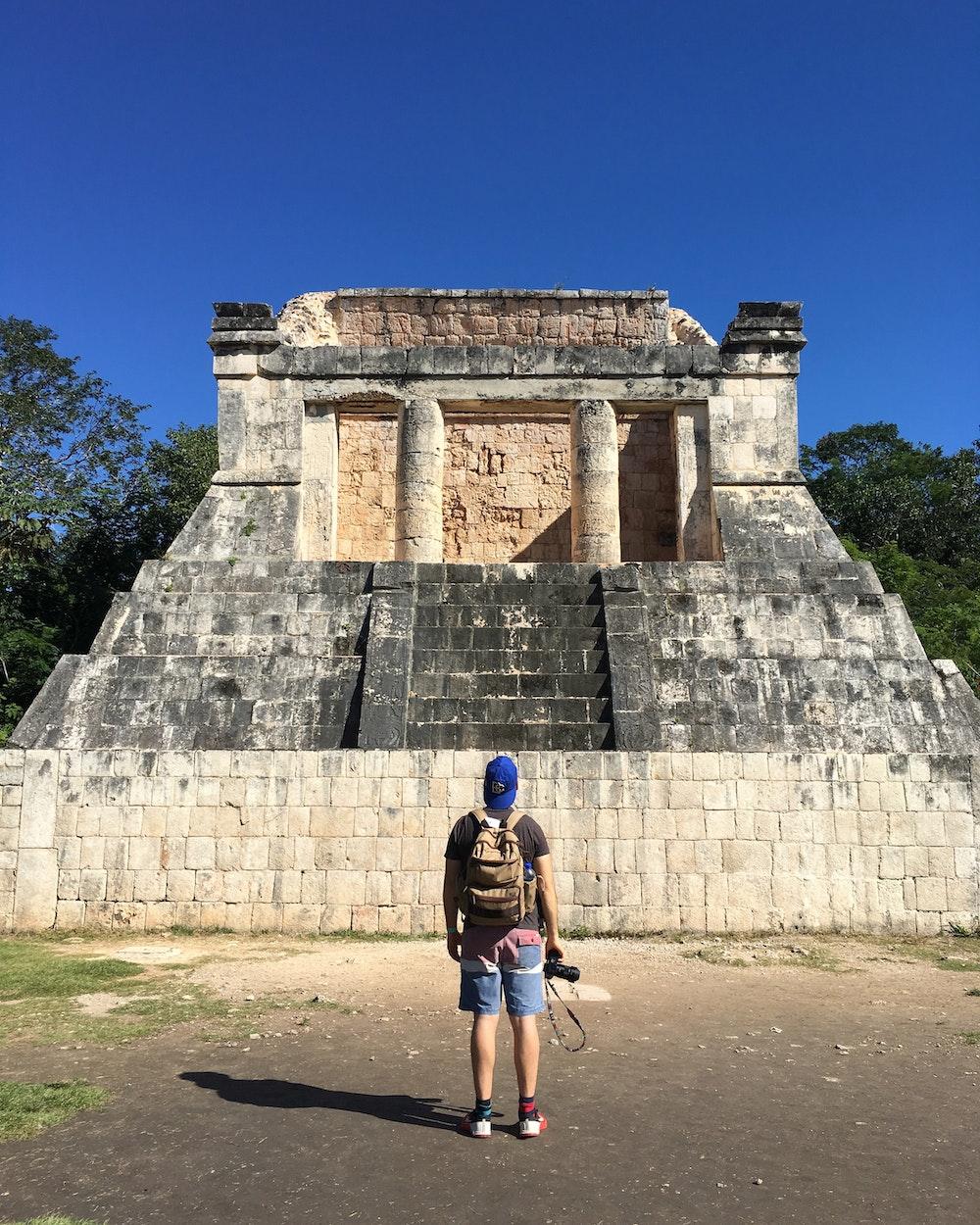 Dan admiring ancient Mayan ruins at Chichen Itza, Mexico