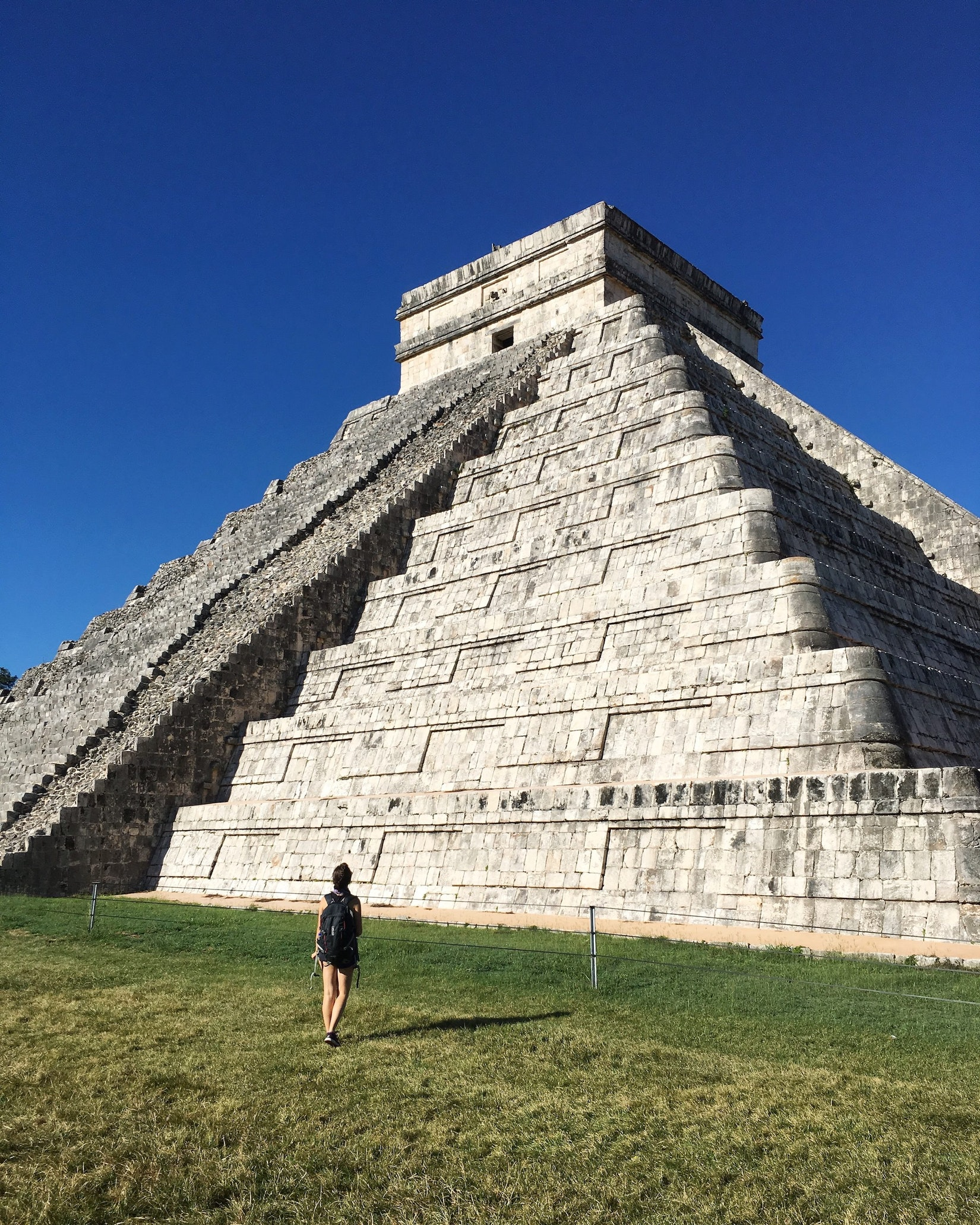 Becca with the biggest pyramind at Chichen Itza national park in the Yucatan, Mexico