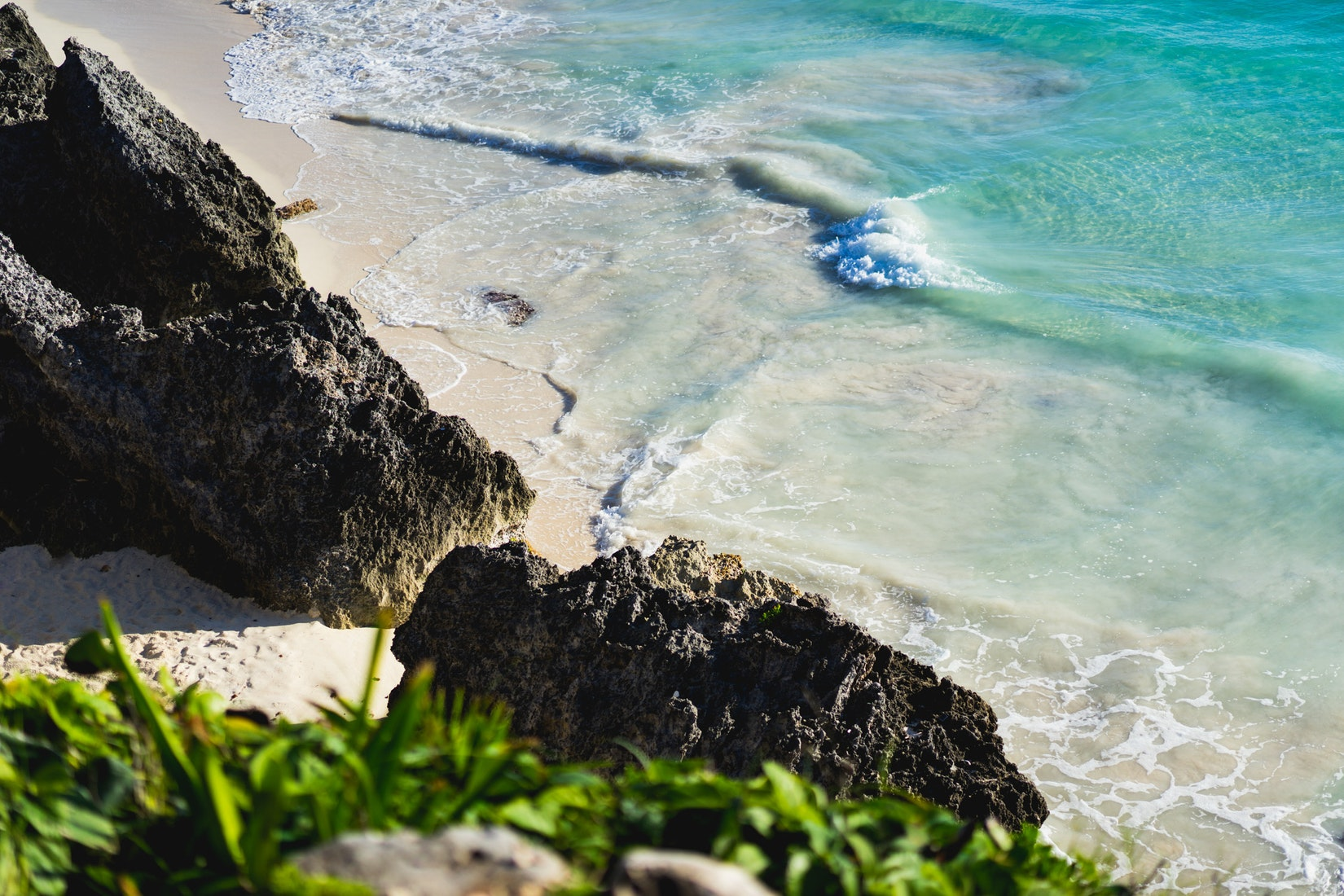 The clear water at the beach in the Tulum Ruins