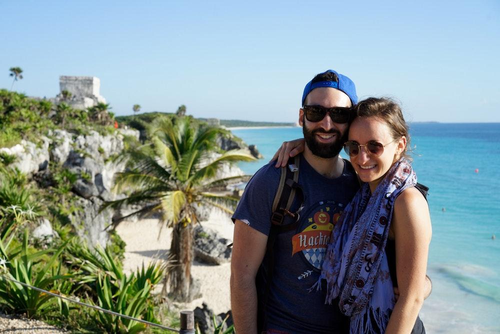 Becca and Dan at the Tulum Ruins